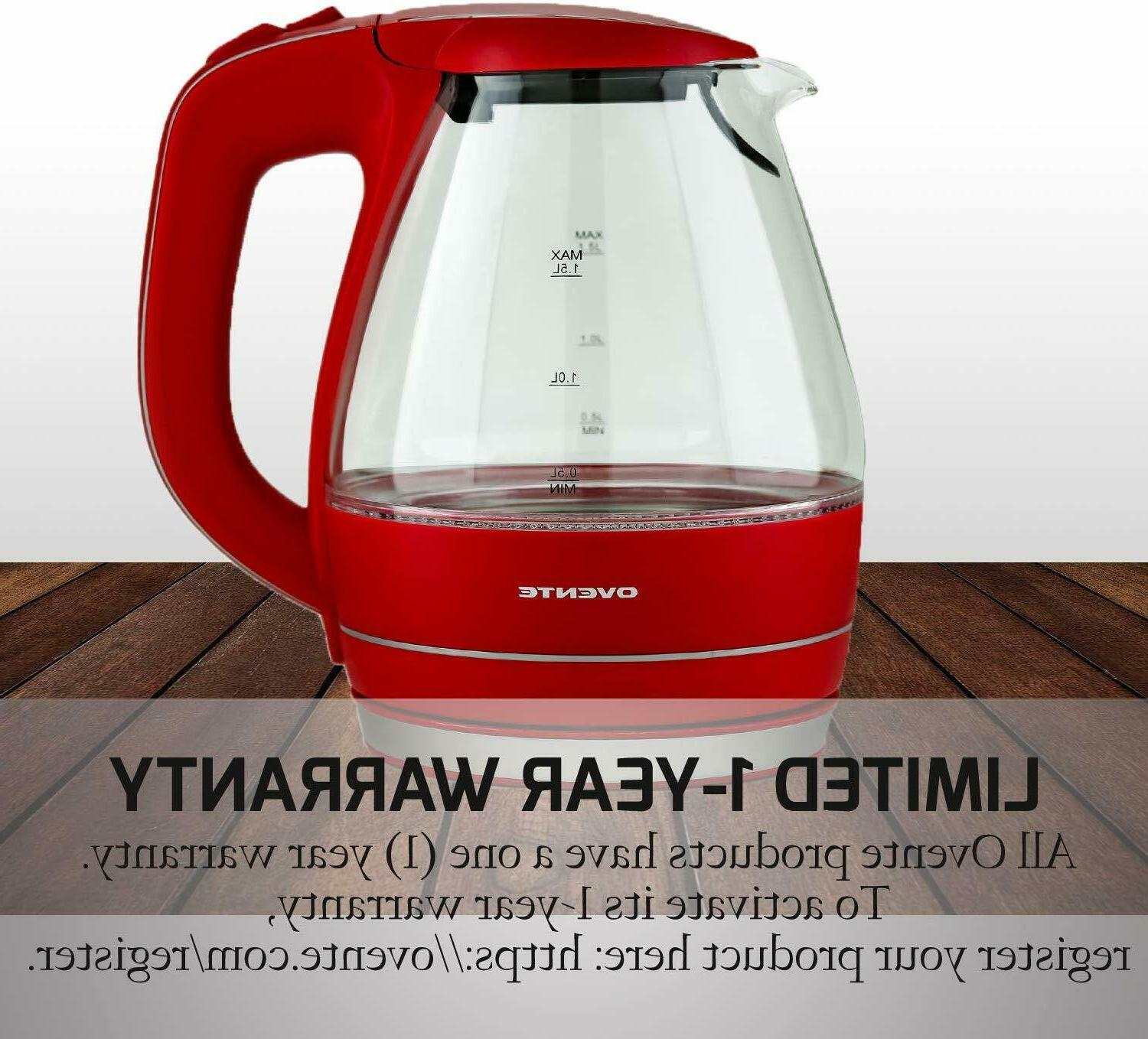 Ovente Electric Glass Kettle Water 1.5 KG83R