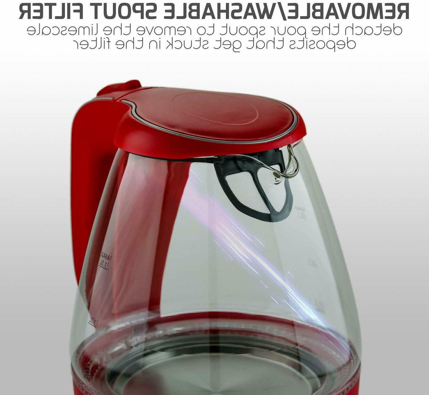 Ovente Electric Glass Kettle Water Tea Coffee 1.5 Liter
