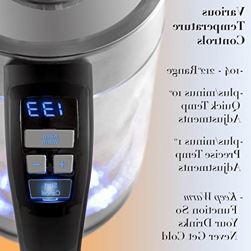 Double Wall Electric Temperature Filter Infuser 1.7L BPA-Free Boiler | 1500W | Electric for Tea Coffee