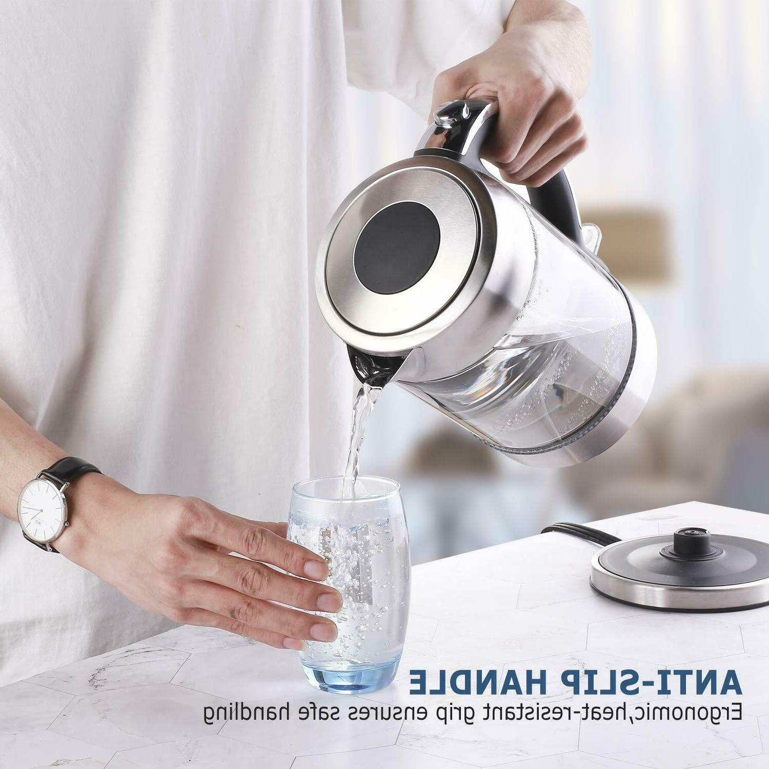 Electric 1.7 L Cordless Glass Kettle & Water Boiler, Stainless