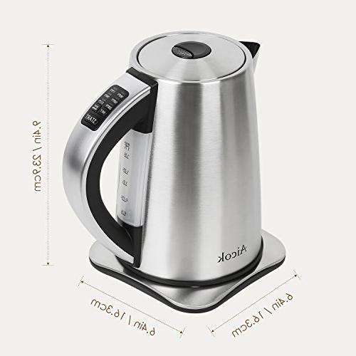 Electric Stainless Steel Kettle, Cordless Electric Water with 1500W Shut and Boil-Dry Protection, 1.7-Liter Aicok