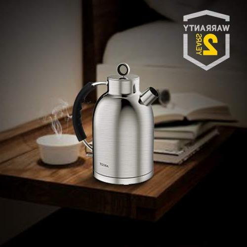 Stainless Water Boiler, 1.6L 1500W Cordless Teapot Material, & Shutoff, L, Silver