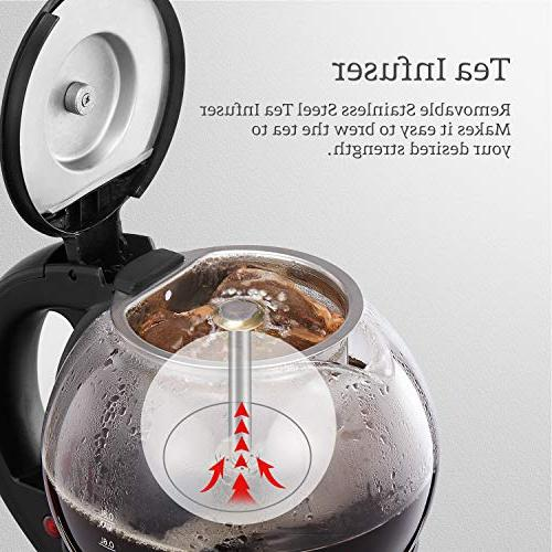 AICOOK Electric Tea Infuser, Small Glass Tea Pot, Keep Warm, Auto and Boil-Dry Protection, BPA Free