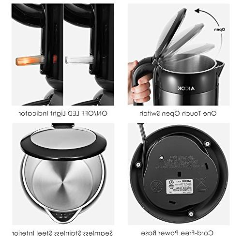 Electric Kettle 304 Stainless Kettle 100% Stainless Steel Interior, BPA-Free Aicok