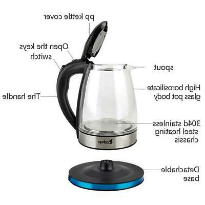 Electric Kettle Glass Boiler Fast Boiling Tea Kettle Stainless US