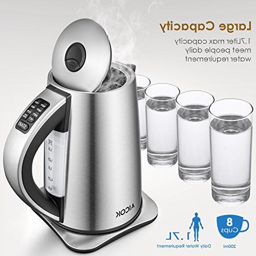 Electric Variable Temperature Stainless Tea with SpeedBoil, Shut and Protection, 1.7-Liter Boiler Aicok