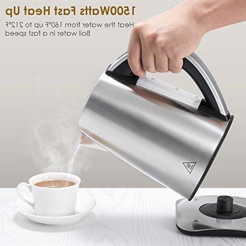 Electric Temperature Stainless Steel Cordless Kettle with 1500W SpeedBoil, Shut and Boil-Dry Protection, Aicok