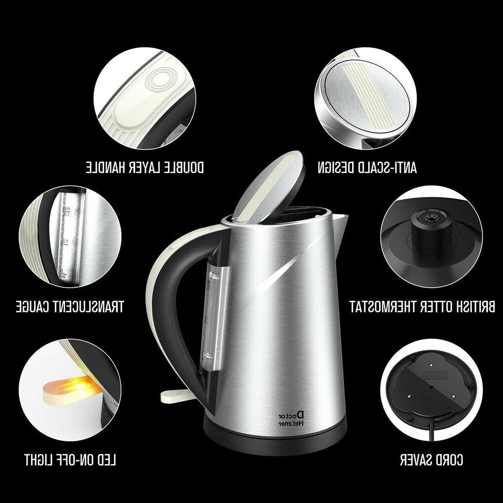 Electric Kettle Tea Hot Water 1.5L Stainless Steel Auto