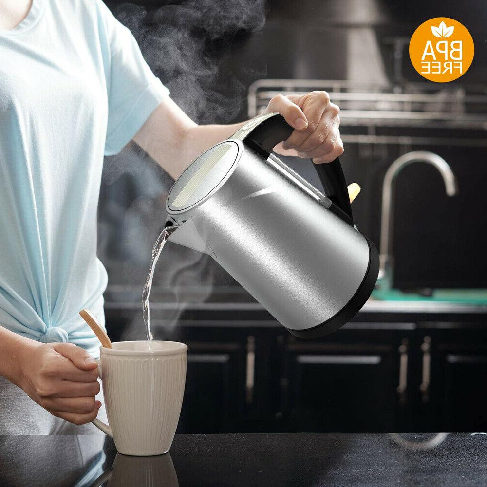 Electric Kettle Hot Water Brew 1.5L Stainless Steel Free