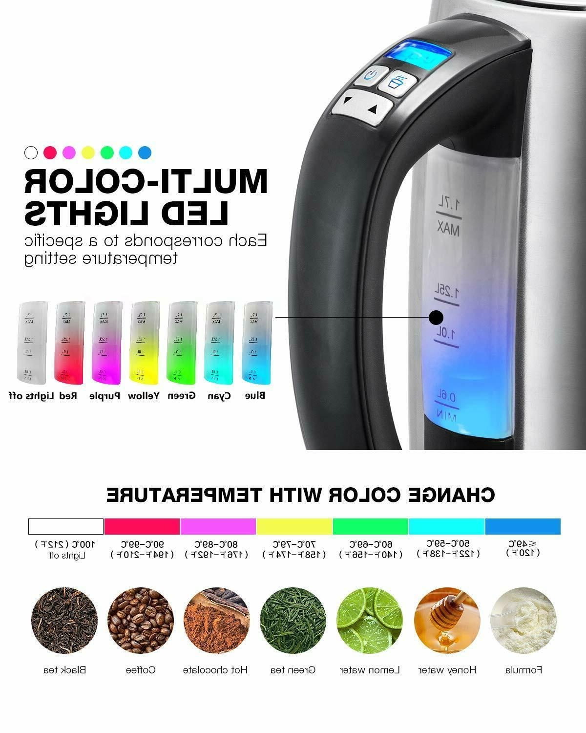 Electric Kettle Temperature Real Time Temp 6 Color