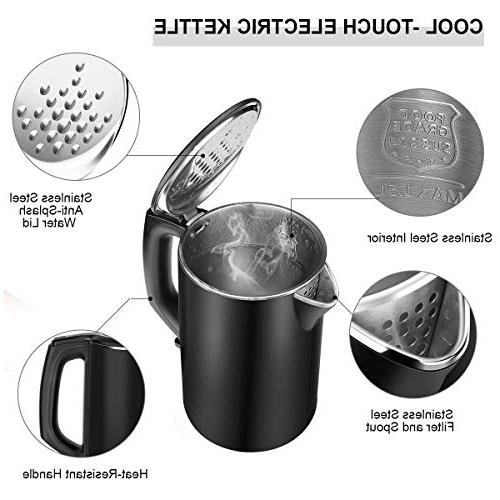 Electric Kettle, CUSIBOX Kettle Cool Kettle with Stainless Double Wall,