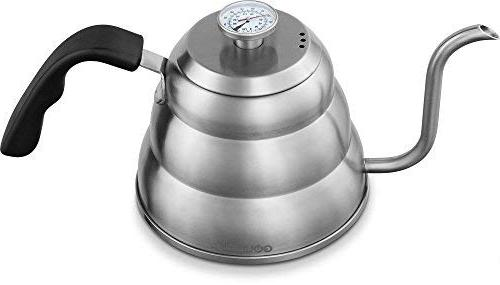 Coffee Kettle In Thermometer For Perfect Temperature and Gooseneck Spout - Steel Tea Pot - Stove and - 1.2