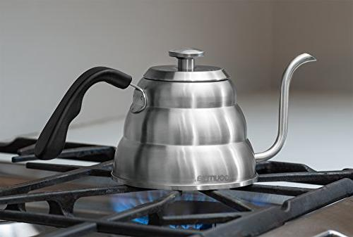 Gourmia GCK9975 Pour Coffee Kettle with In Thermometer Temperature and Gooseneck - Tea Stove -