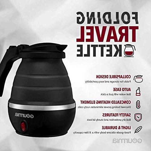 Gourmia Travel Electric Kettle - Water Grade Small, Collapsible, - Dry Protection - .8 Qt 820W