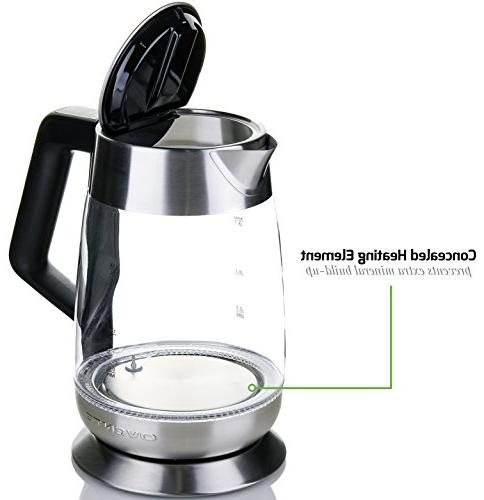 Ovente Glass Electric Kettle 1.8L, with Temperature Auto Shut-Off Stainless Steel