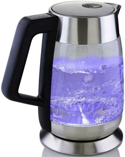 Ovente Glass Electric Kettle 1.8L, Fast with Temperature Control, Auto ), Stainless