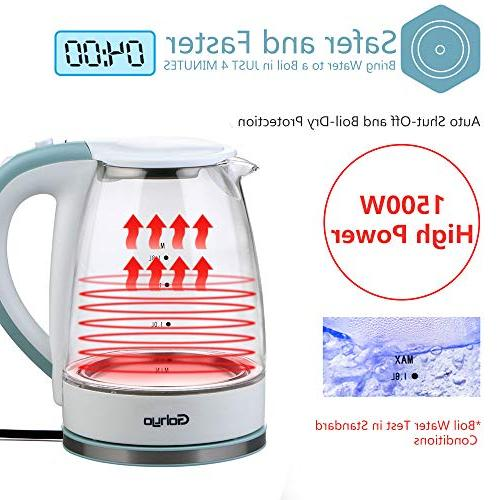 Gohyo Kettle, 1.8-Liter 1500W Kettle, Heater for Boiling, Hot Water with Auto Boil-Dry Protection, BPA-Free