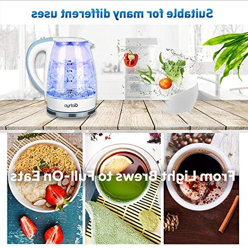 Gohyo 1.8-Liter 1500W Glass Electric Kettle, Heater for Fast Water Boiler Boil-Dry Protection, BPA-Free