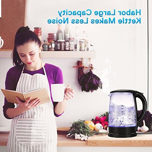Habor Electric Kettle, 1.7L Glass Fast Hot Blue LED Boil Dry