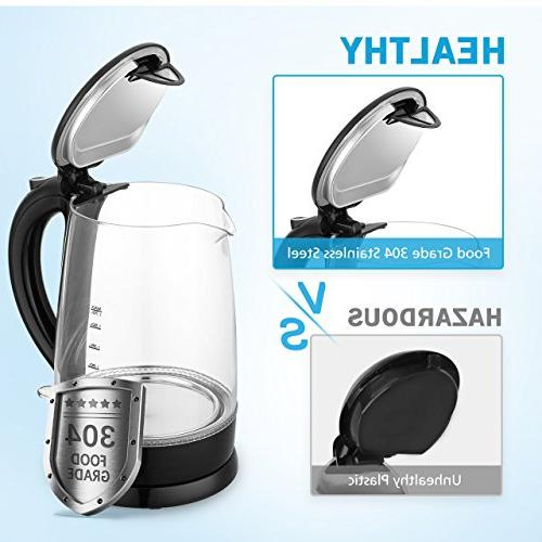 Habor Glass Electric Kettle Fast Hot Water Tea Water Boiler Blue Light and Boil