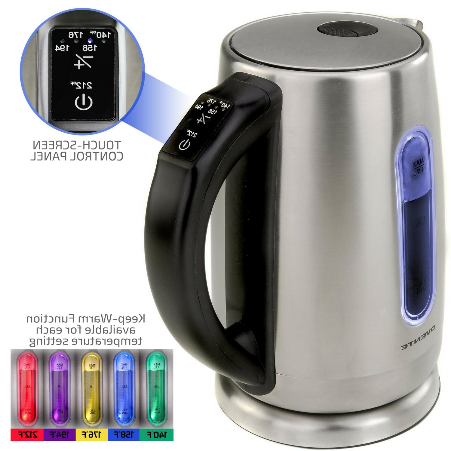 Ovente 1.7L Steel Electric Kettle with Touch