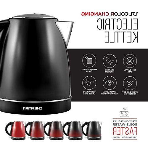 Chefman Changing Kettle with Auto Stainless Steel, 360° Base, BPA Free Interior 1.7