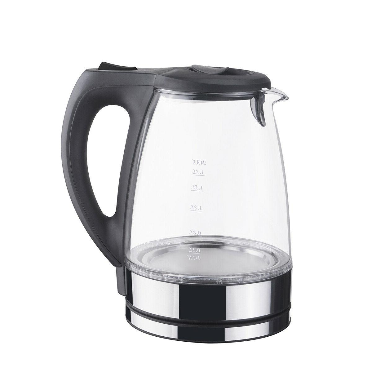 Stainless Electric Hot Tea 1.7L Blue Light US