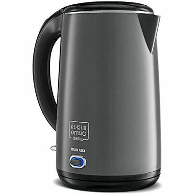 stainless steel double walled electric kettle grey