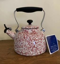 """NEW! CHANTAL """"Vintage"""" WHISTLING TEA KETTLE 1.7 Qt  RED / WH"""