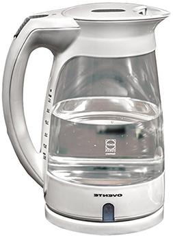Ovente 1.7L Cord-Free White Glass Electric Kettle