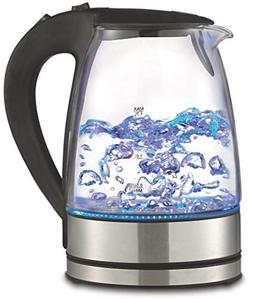 Royal 1.7L Cordless Glass Electric Hot Water Tea Kettle Blue