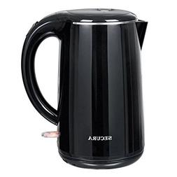 Secura Stainless Steel Double Wall Electric Water Kettle, 1.
