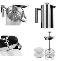 Stainless Steel French Presses Coffee Maker 18/10 Bonus Scre