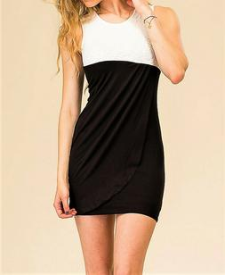 Two Color Wrap Style Mini Dress With Lace Detail S M L Free