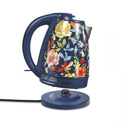 Vintage Fiona Cordless Floral/Blue Electric Kettle W/ LED 1.